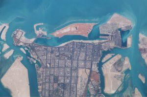 WikiCommons satellite image of Abu Dhabi