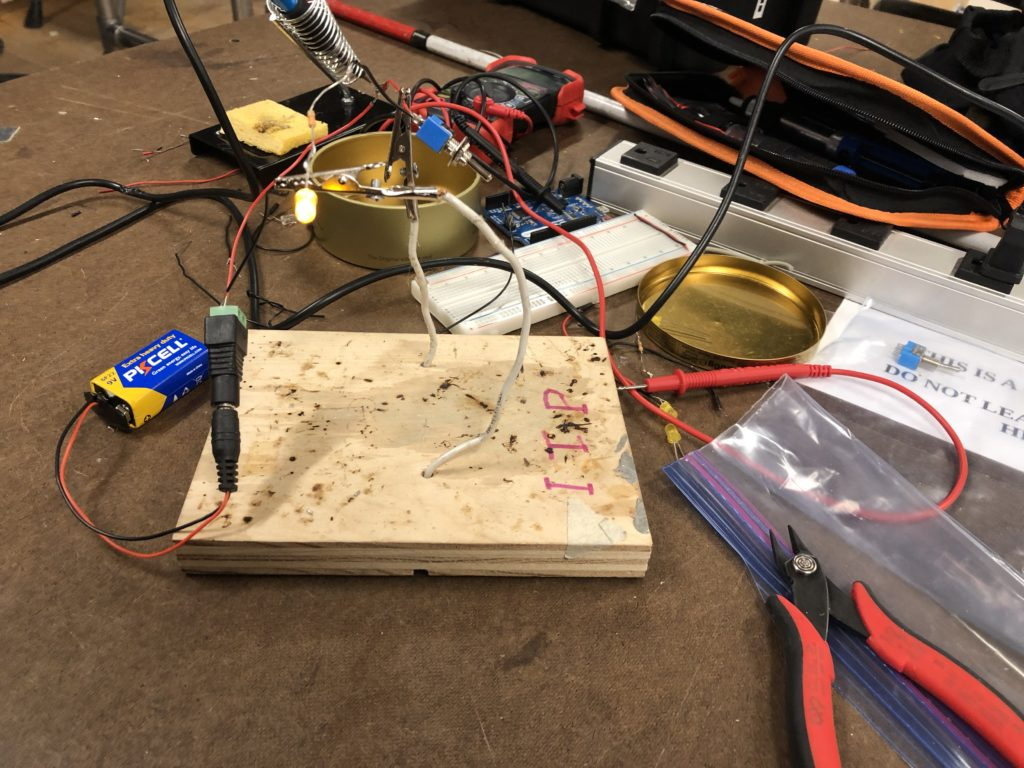 Work space with wires soldered together