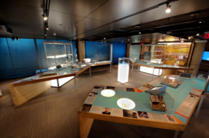 The Nokia Bell Labs exhibition space in Murray Hill, New Jersey. Highlighted Bell Labs innovations on display include the first transistor and the Telstar satellite.
