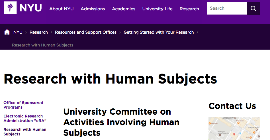 NYU Research with Human Subjects screenshot