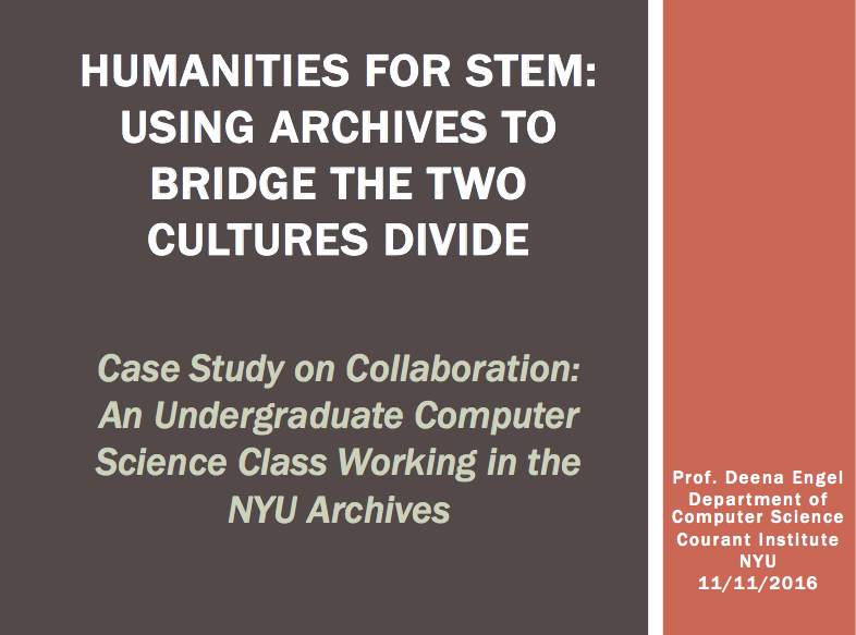 Humanities for STEM: Using Archives to Bridge the Two Cultures Divide