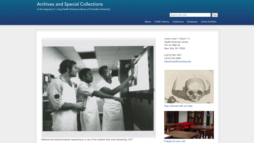 Columbia Health Sciences Archives page