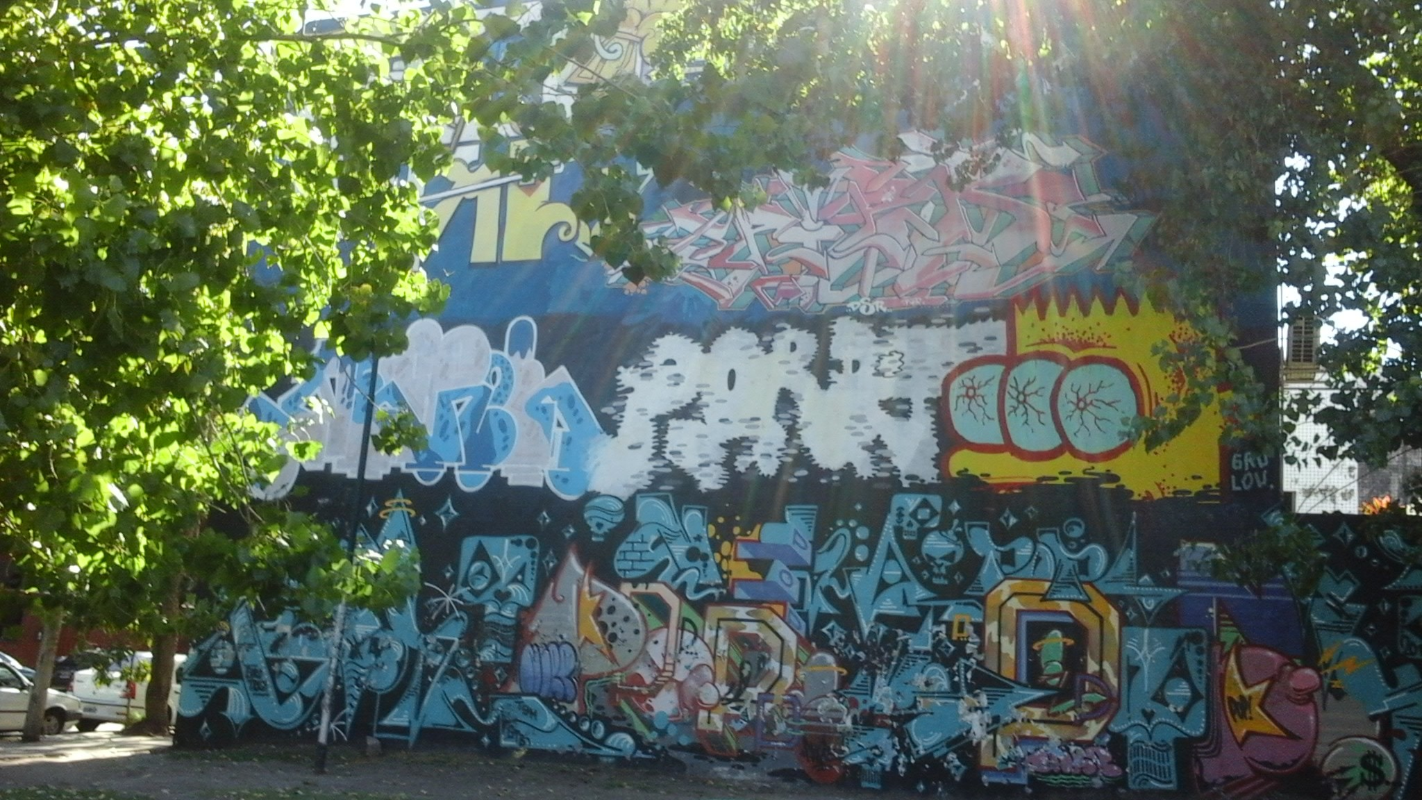 Large wall covered in different graffiti styles