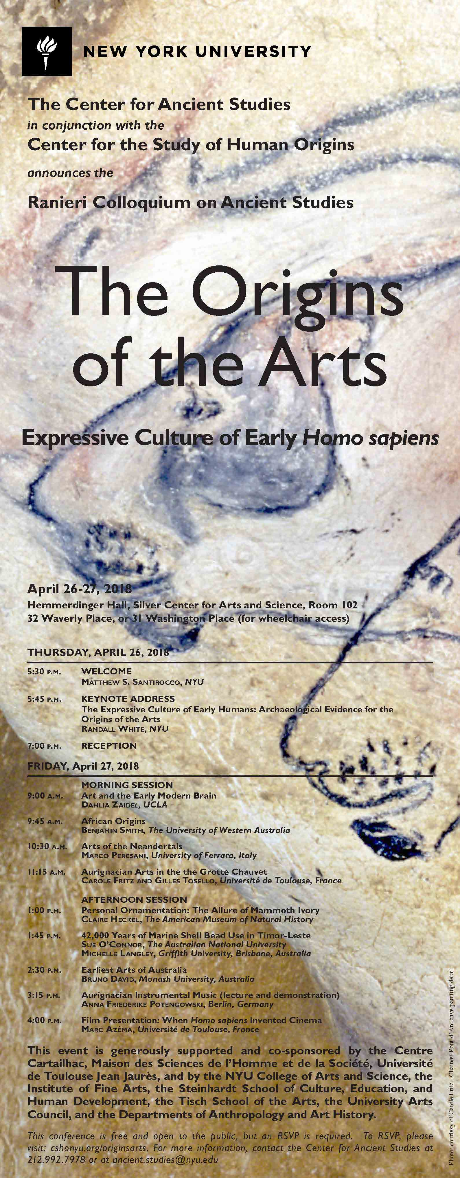 Ranier Colloquium on Ancient Studies: The Origin of the Arts. April 26th-27th 2018. Address is 32 Waverly Place or 31 Washington Place for wheelchair access. RSVP by going to cshonyu.org/originsarts