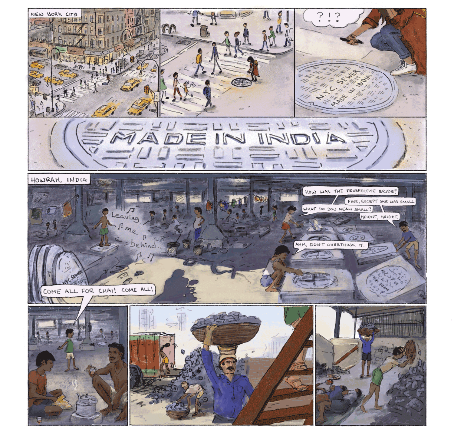 "Comic strip illustration of the content covered in the documentary ""Cast in India"" made by Natasha Raheja."
