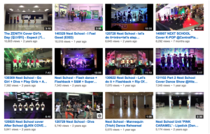 Figure 1 A snapshot of some of Next School's YouTube channel. The practice of cover dances is mobile and can be performed in any space, public or private.