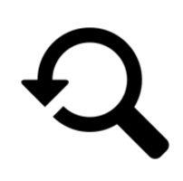magnifying glass icon with arrow inside circle