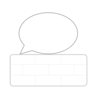 outline of speech bubble on top of a brick wall outline