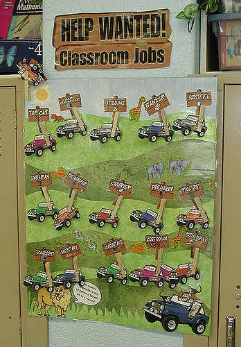 a classroom sign with words Help Wanted on it and various cars with children's names matching them