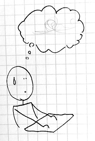 stick drawing of a student sweating with a thought bubble with scribbles in it