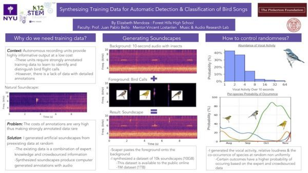 Elizabeth Mendoza's poster for NEMISIG 2019. Synthesizing Training Data for Automatic Detection and Classification of Bird Songs