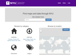 Screenshot of the NYU Spatial Data Repository landing page