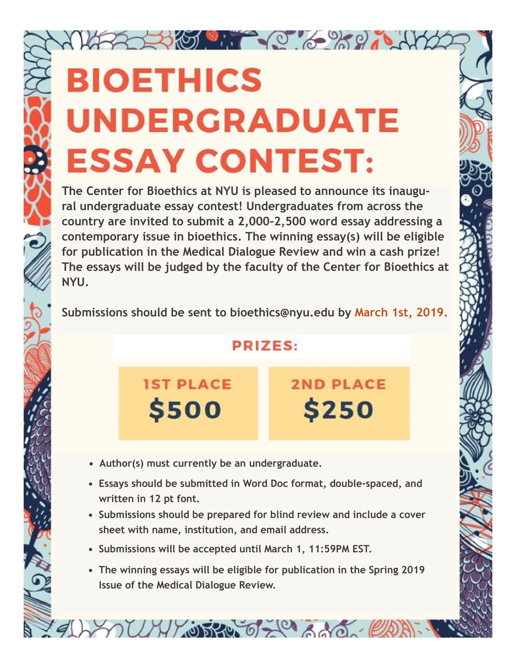 Bioethics Essay Contest Flier