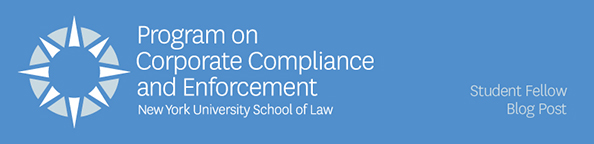 Banner with Program on Corporate Compliance's name and logo that announces this post is a student fellow blog post
