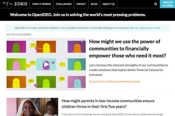 The OpenIDEO website (http://openideo.com/)
