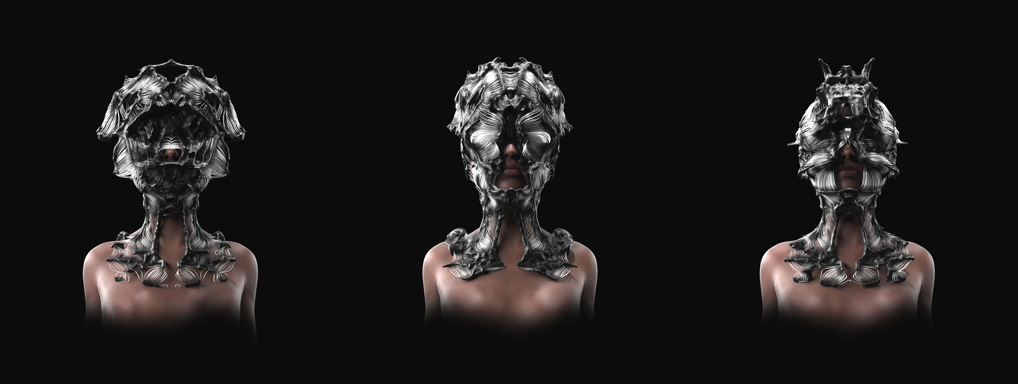 3D rendered masks projected onto human form