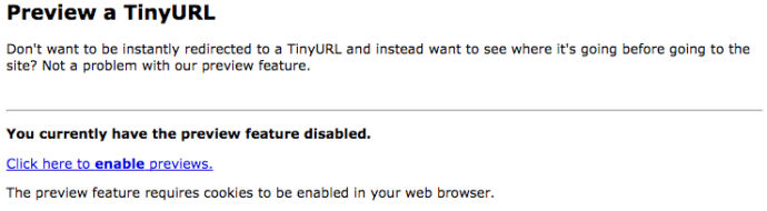 screenshot of tinyurl's shortened link preview page