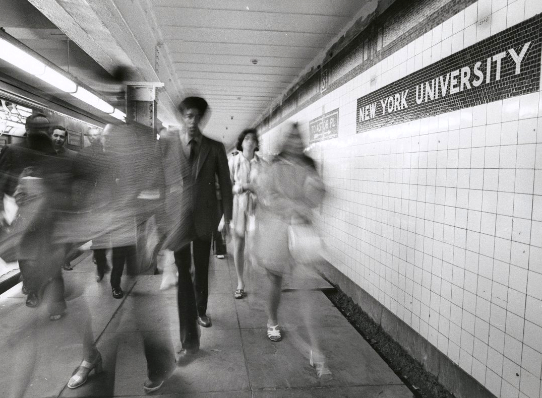 Photo of the 8th Street-NYU subway stop in 1970