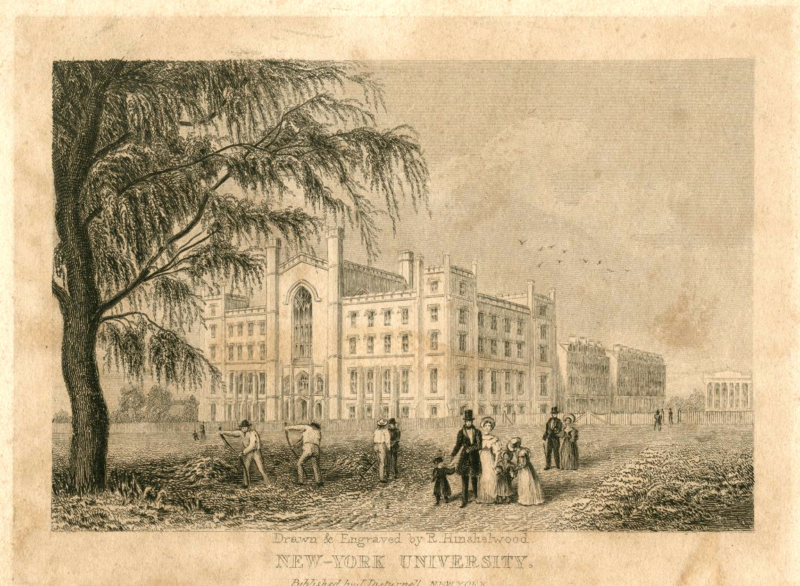 Illustration of the NYU University Building, 1836