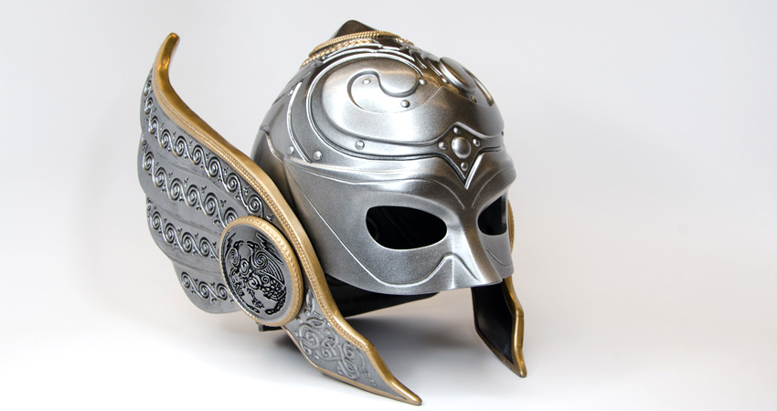 3D printed helmet based on designs in Marvel's Thor comic book