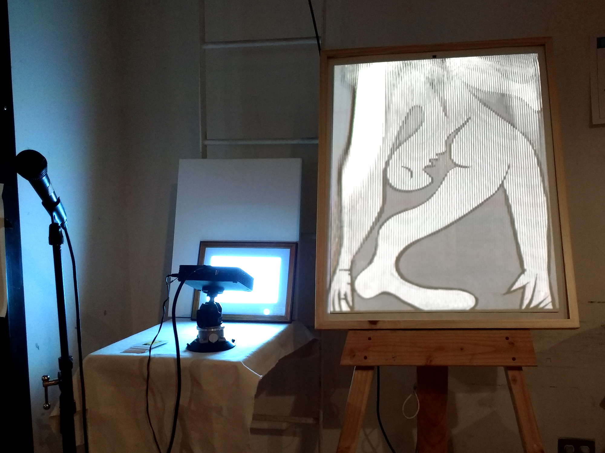 Example of a digital recreation of a Picasso piece that can be warped based on a person's physical movements and voice
