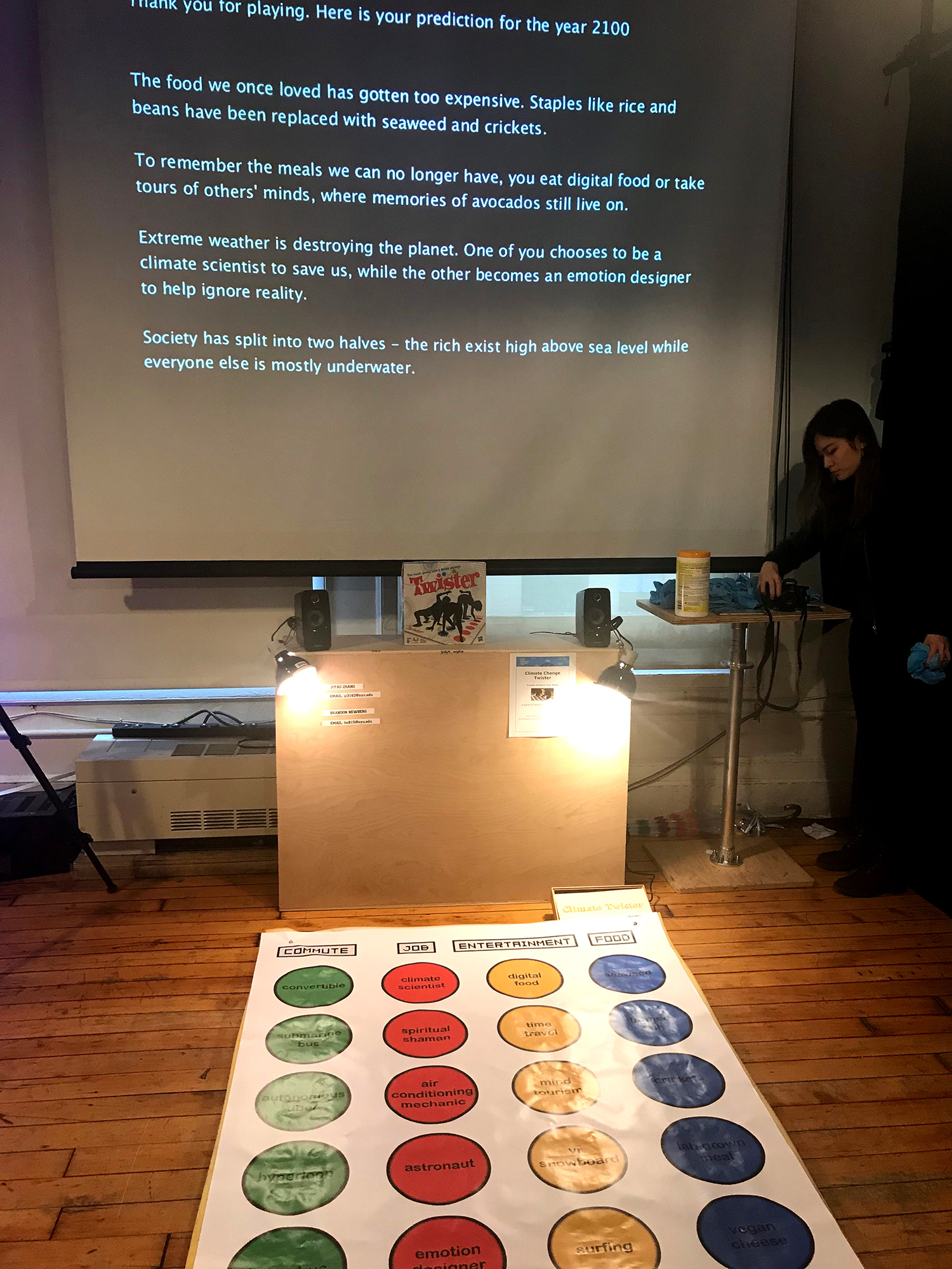 Twister board generating climate change related text on a screen
