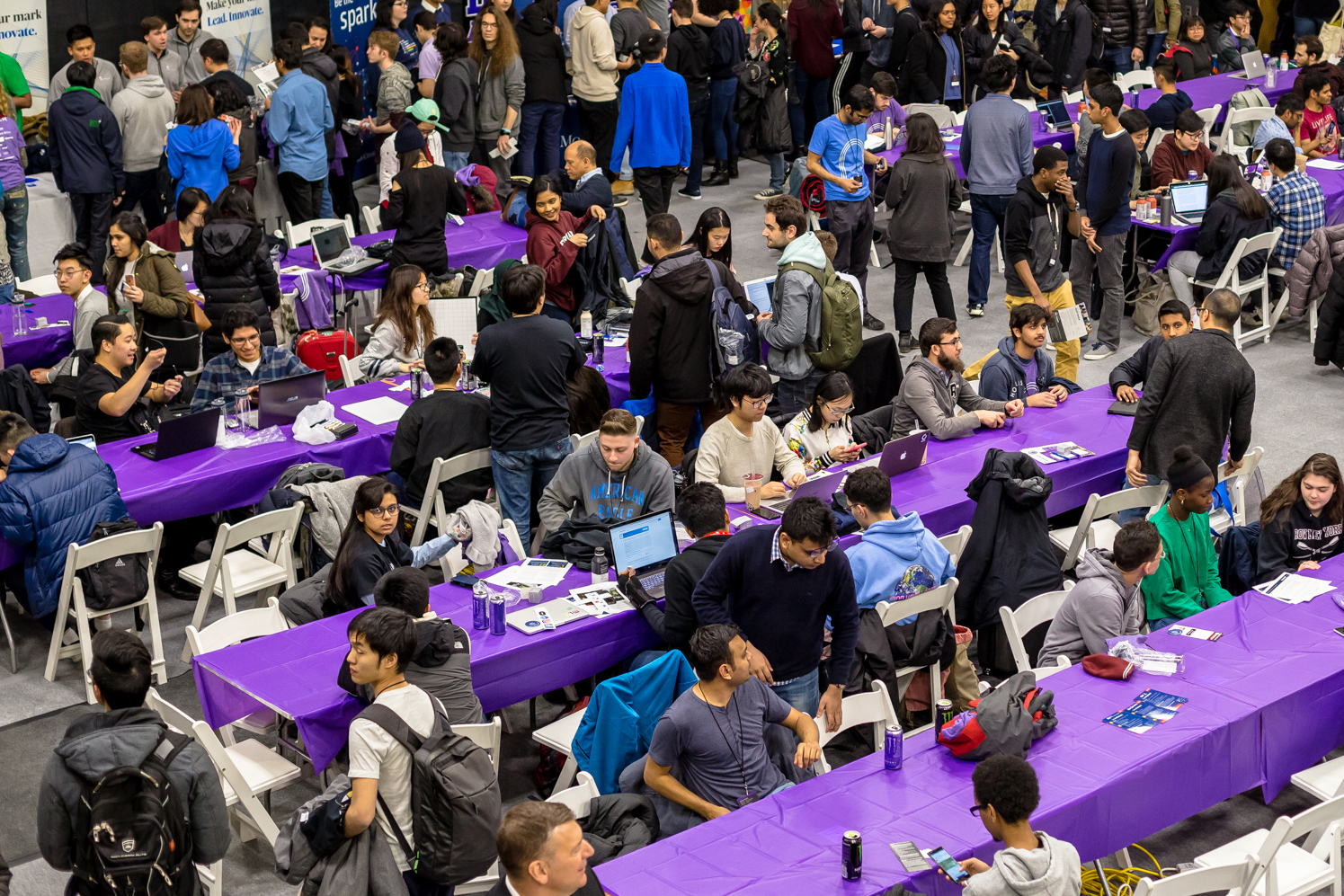 The HackNYU event filling the Tandon gym