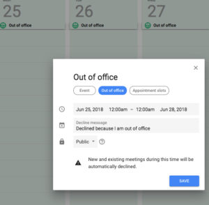 Screenshot showing the location of the new out-of-office feature, which can be set in an Event's details.