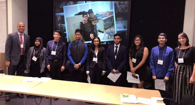 Group photo of participants in the student panel