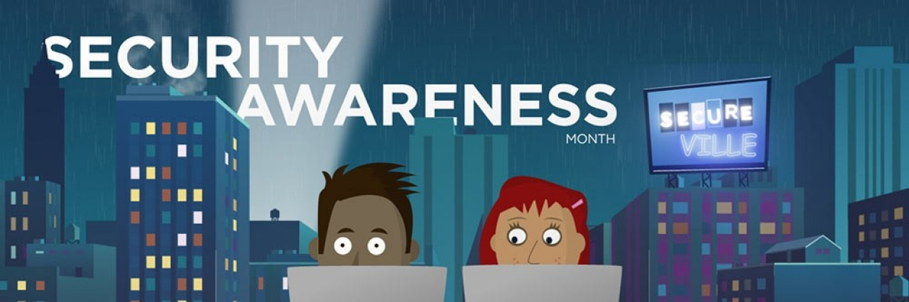 promo ad for security awareness month depicting two people sitting at their laptops