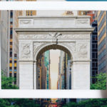 Detail of the 2018 Annual Report cover, hands holding mobile device in front of Washington Square Arch