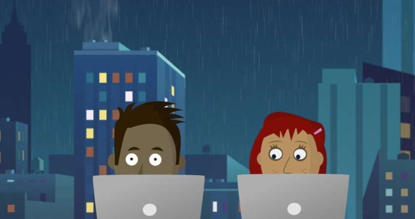 Illustration of two people sitting behind laptops