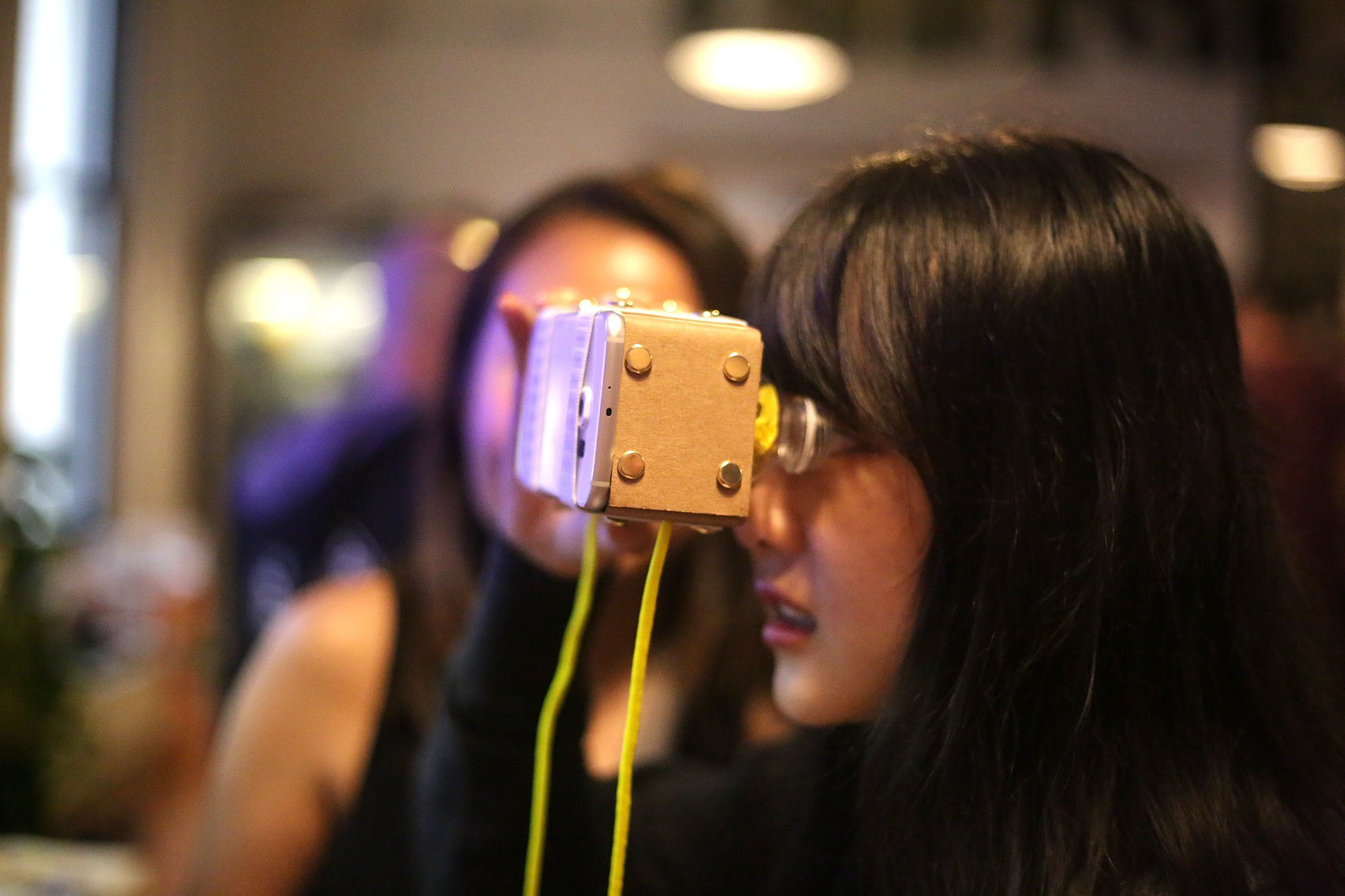 DIY VR goggles made from foraged and reclaimed materials. Photo courtesy of ITP Camp via Flickr.