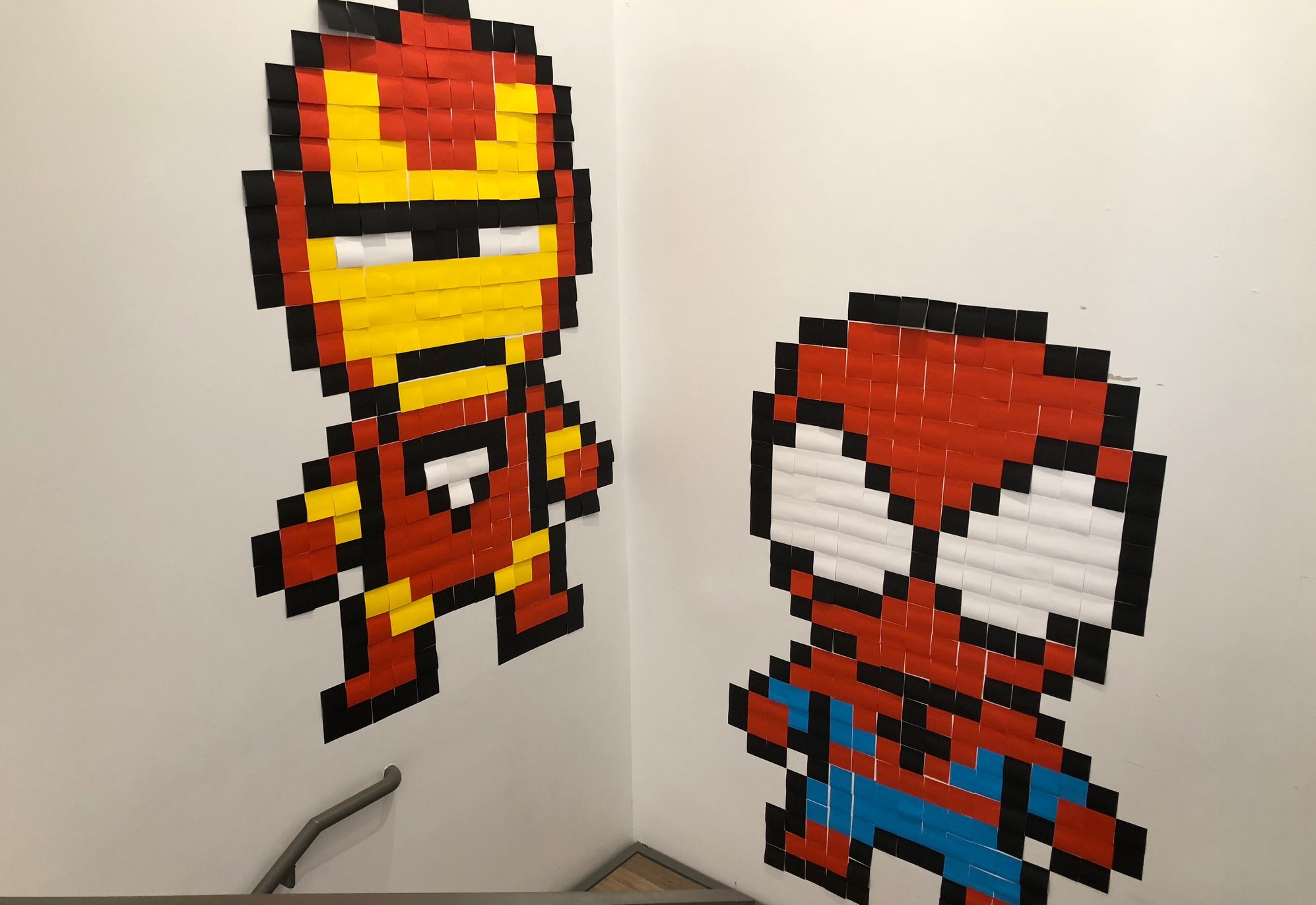 Wall art of Spider-Man and Iron Man made with Post-It Notes