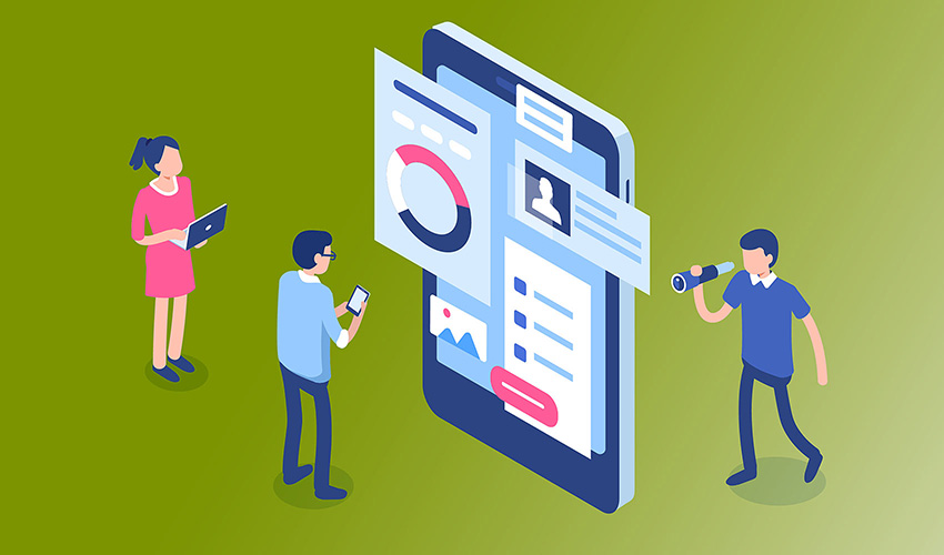 illustration of small people looking at a large smart phone