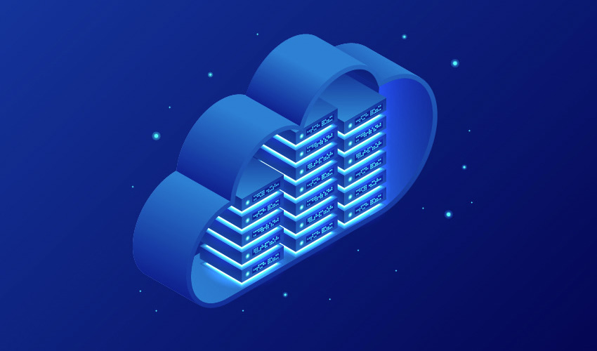 illustration of glowing blue computer servers within a cloud