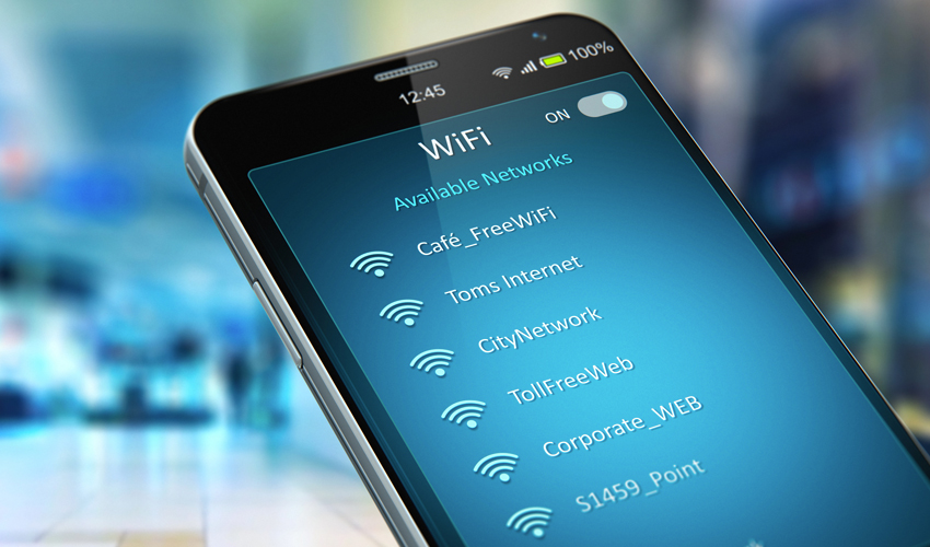 Smart phone displaying a list of unsecure public wi-fi networks