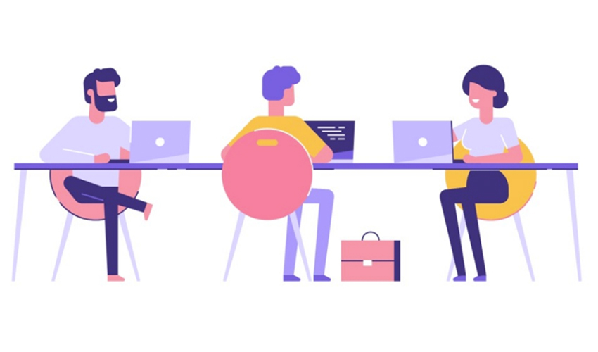 illustration of three people at a table with laptops