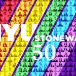 NYU Stonewall 50 logo on rainbow background