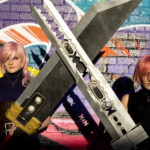 Dhemerae and Sarah in anime costumes, holding large swords, standing in front of graffiti covered wall