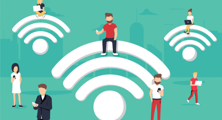 illustration of people standing around a large wi-fi icon