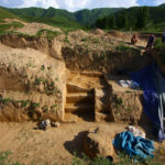 excavation at an Upper Paleolithic site in the Tien Shan mountain range in Kazakhstan