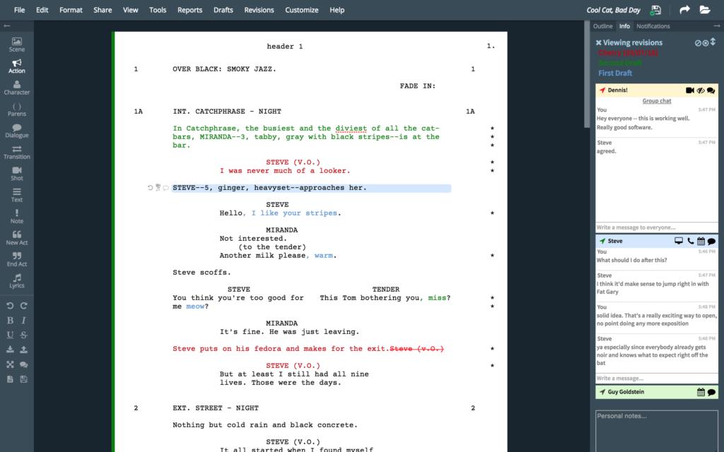 WriterDuet Interface
