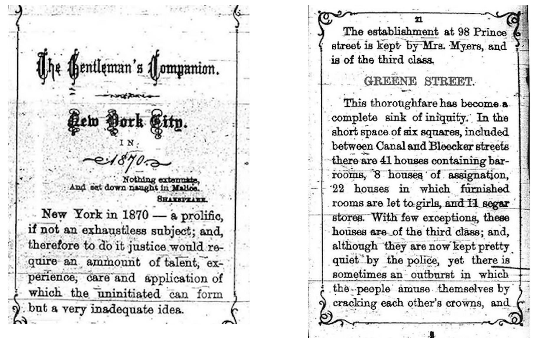 """The Gentleman's Companion: a pocket guidebook to nightlife in New York in 1870. Greene Street had so many brothels that the area was described as a """"sink of iniquity."""" Found in New York Times."""