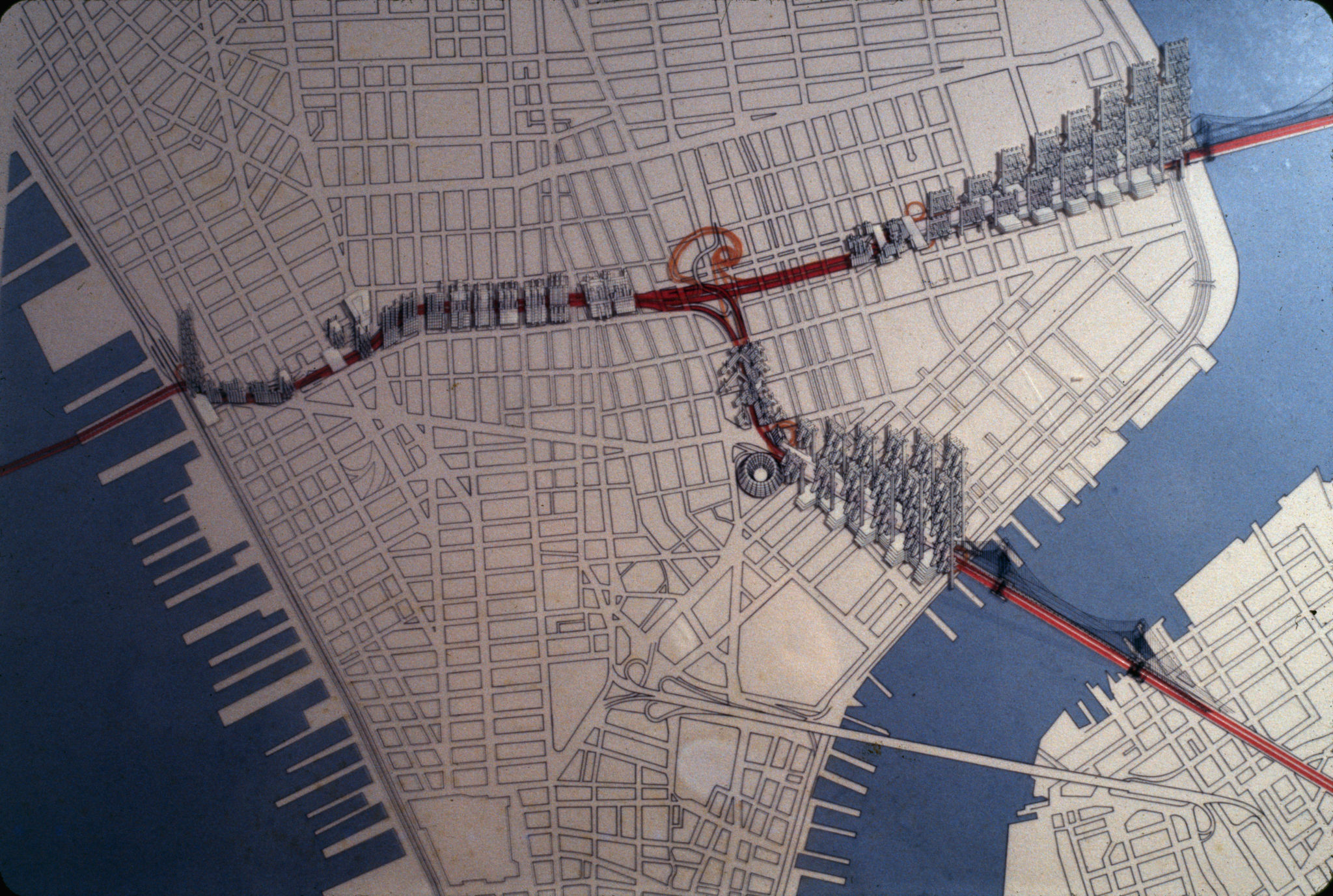 Decay and Planning: A 3D map showing the proposed development of the LOMEX, with the Greene Street block marked.