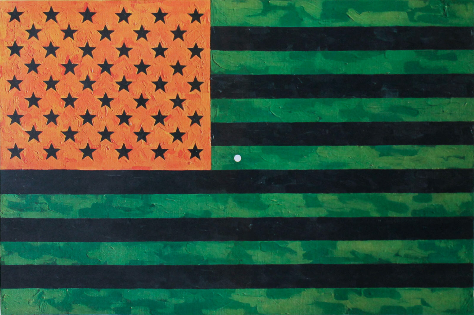 Jasper Johns, Flag, 1969 (Moratorium), offset lithograph. Found on Artnet.