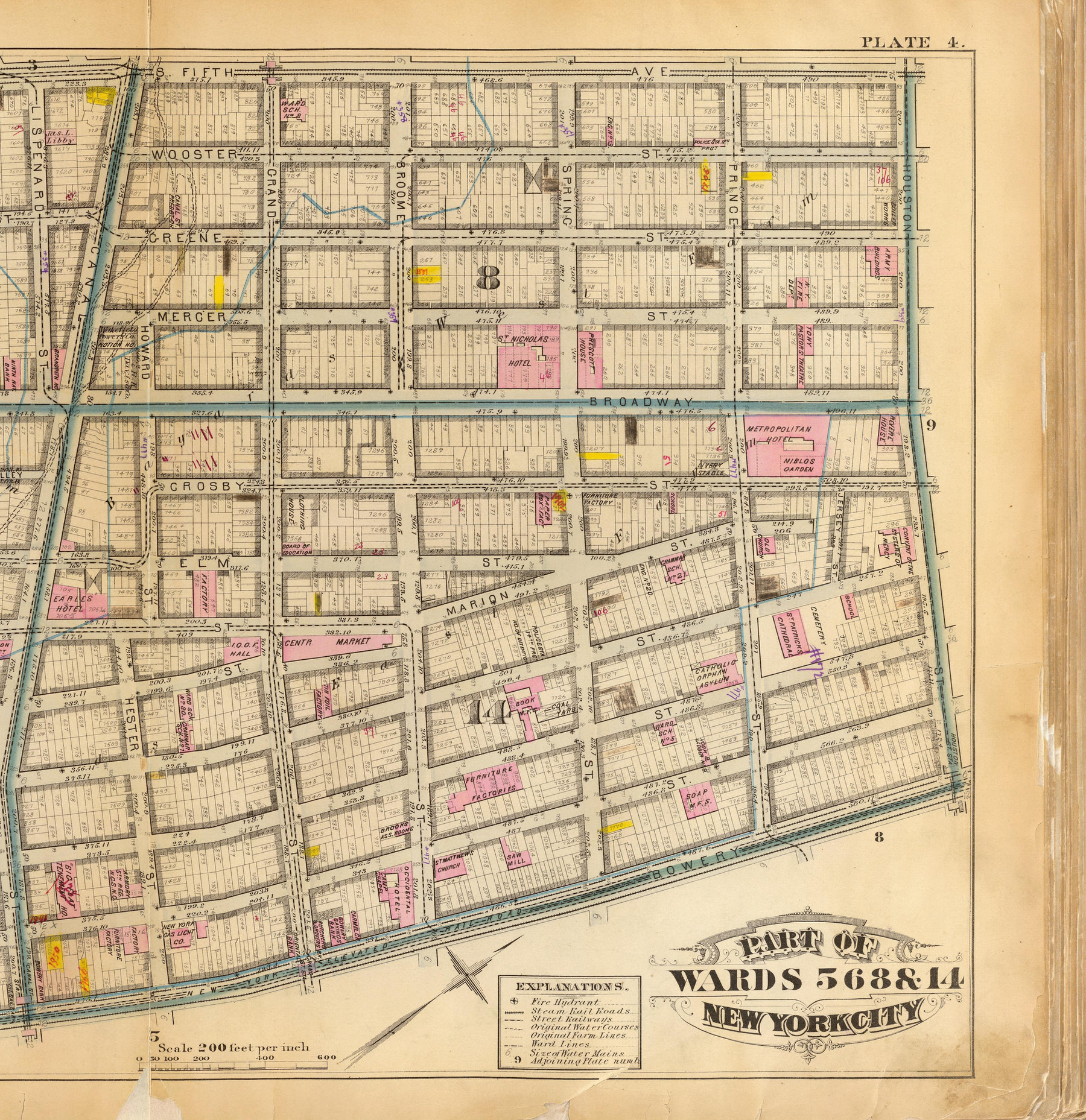 Map of Brothels: The brothels of Greene Street, and the nearby theatres and hotels. Every red point is a brothel on the block either in 1870, 1880, or both. Part of wards 5, 6, 8 & 14, New York City. (G.W. Bromley & Co., civil engineers. Published by Geo. W. Bromley & E. Robinson, 1879). Data from Gilfoyle, Timothy. City of Eros: New York City, Prostitution, and the Commercialization of Sex, 1790- 1920 WW Norton & Company: New York, 1994.
