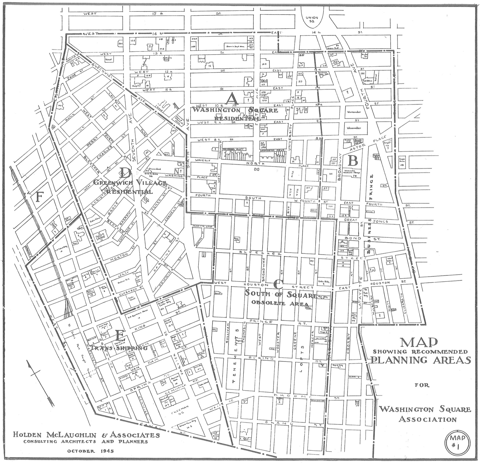 "Urban developers and architects in the 1945 Holden-McLaughlin Plan labeled Greene Street and the SoHo vicinity as an ""Obsolete Area."" Their report claims: ""None of the present buildings in the block are really worth preserving. This is a clear case calling for complete demolition and complete replacement."" Holden-McLaughlin Plan, 1945. Found in Schwartz, Joel. The New York Approach: Robert Moses, Urban Liberals, and Redevelopment of the Inner City. Ohio State University Press: 1993, 148."