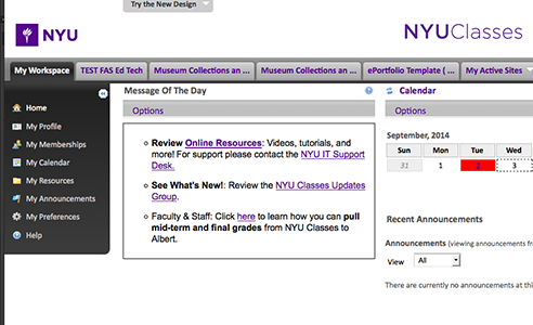 What's New in NYU Classes – Sept 2014
