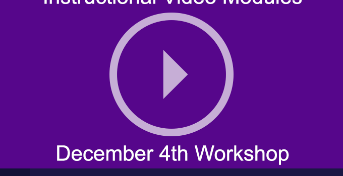 Dec 4th Workshop on Blended Learning from NYU IT/Libraries